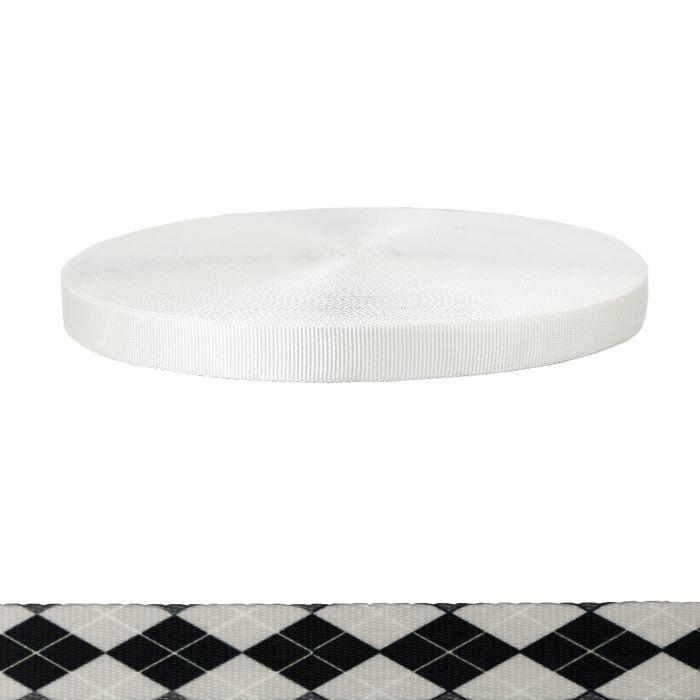 1 Inch Tubular Polyester Argyle: Black and White