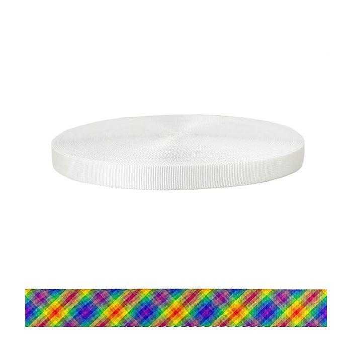 1 Inch Tubular Polyester Calico Rainbow