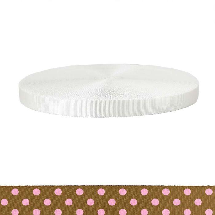 1 Inch Tubular Polyester Polka Dots: Pink on Brown