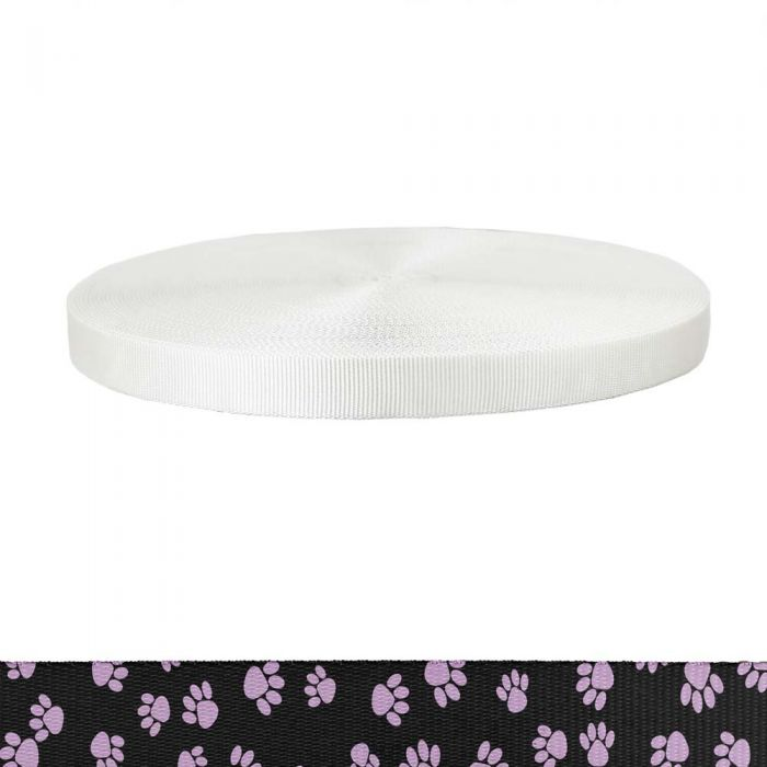 1 Inch Tubular Polyester Puppy Paws: Pink on Black