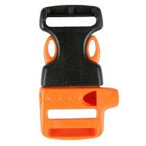 3/4 Inch Whistle Side Release Buckle No Adjust Black and Orange