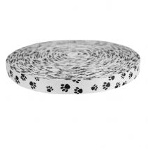 1 Inch Picture Quality Polyester Webbing Puppy Paws: Black on White