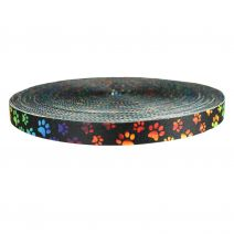 1 Inch Picture Quality Polyester Webbing Rainbow Paws