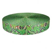 2 Inch Picture Quality Polyester Webbing Nu Canna Green Paisley