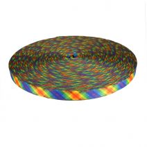 3/4 Inch Picture Quality Polyester Webbing Calico Rainbow