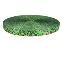 3/4 Inch Picture Quality Polyester Webbing Nu Canna Green Paisley
