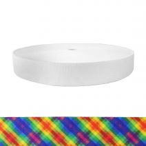 1-1/2 Inch Picture Quality Polyester Webbing Calico Rainbow
