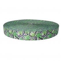 1-1/2 Inch Picture Quality Polyester Webbing Nu Canna Black Paisley