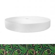 1-1/2 Inch Picture Quality Polyester Webbing Nu Canna Green Paisley