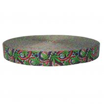 1-1/2 Inch Picture Quality Polyester Webbing Nu Canna Vintage Paisley