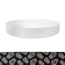 1-1/2 Inch Picture Quality Polyester Webbing Sugar Skulls Black