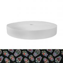 1-3/4 Inch Picture Quality Polyester Webbing Sugar Skulls Black