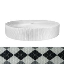 2 Inch Utility Polyester Webbing Argyle: Black and White