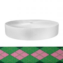 2 Inch Utility Polyester Webbing Argyle: Pink and Green