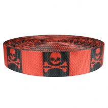 2 Inch Utility Polyester Webbing Jolly Roger Red