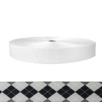 1-1/2 Inch Utility Polyester Webbing Argyle: Black and White