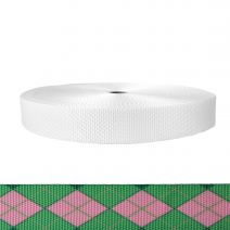 1-1/2 Inch Utility Polyester Webbing Argyle: Pink and Green