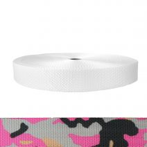 1-1/2 Inch Utility Polyester Webbing Camouflage Pink