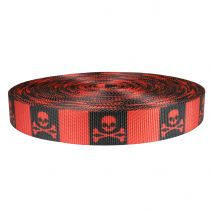 1-1/2 Inch Utility Polyester Webbing Jolly Roger Red