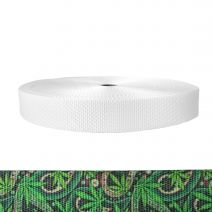 1-1/2 Inch Utility Polyester Webbing Nu Canna Green Paisley