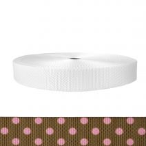 1-1/2 Inch Utility Polyester Webbing Polka Dots: Pink on Brown