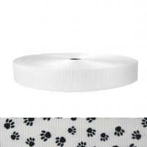 1-1/2 Inch Utility Polyester Webbing Puppy Paws: Black on White