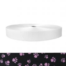 1-1/2 Inch Utility Polyester Webbing Puppy Paws: Pink on Black