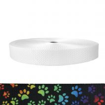 1-1/2 Inch Utility Polyester Webbing Rainbow Paws