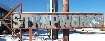Strapworks sign in winter